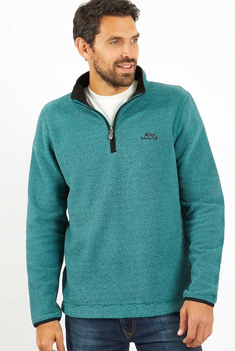 Errill 1/4 Zip Textured Fleece Deep Teal