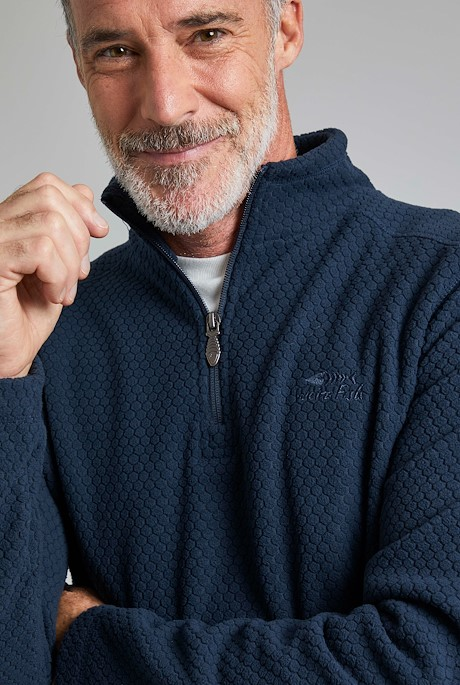 Silvermine 1/4 Zip Hexagon Fleece Navy