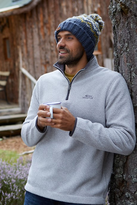Errill 1/4 Zip Textured Fleece Ecru