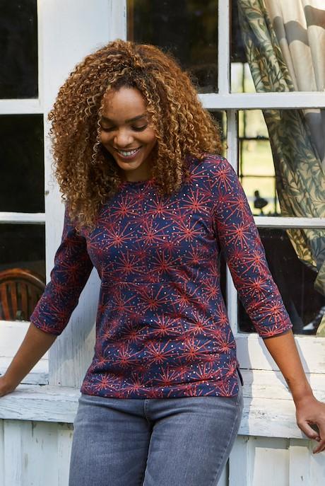 Saffia Sparkle Printed Jersey T-Shirt Midnight