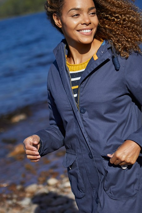 Beatrix Waxed Finish Waterproof Coat Navy