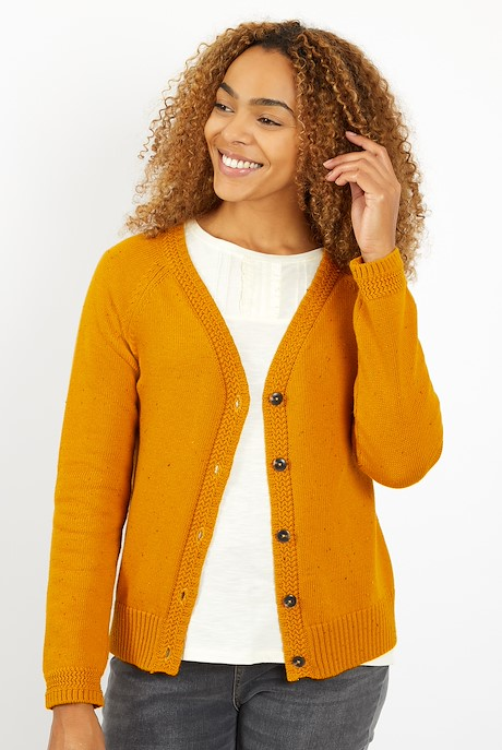 Cupro Knit Cardigan Mustard