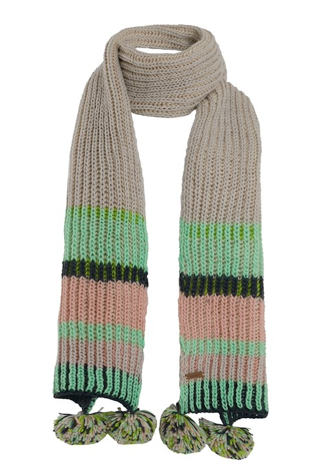 Deedee Striped Rib Knit Scarf Pearl Grey