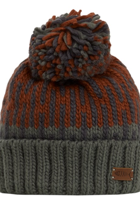 Kearney Fair Isle Knit Bobble Hat Cement