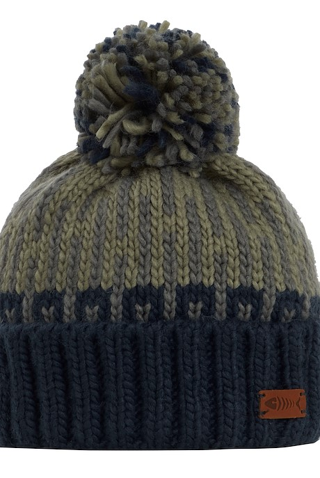 Kearney Fair Isle Knit Bobble Hat Khaki Grey