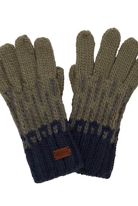 Kingston Fair Isle Knit Gloves Khaki Grey