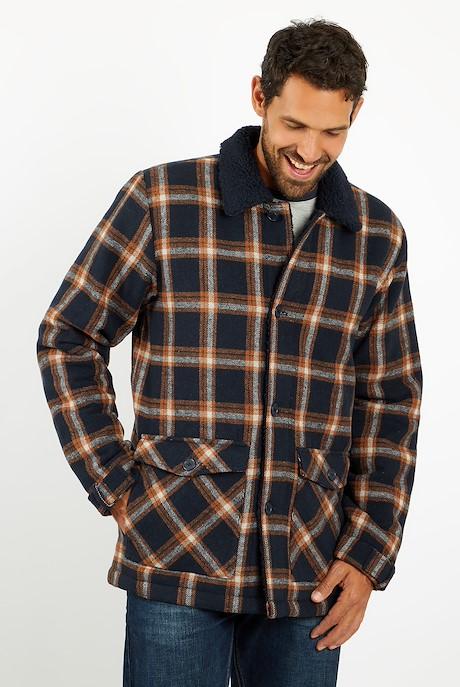 Breckan Check Flannel Coat Navy