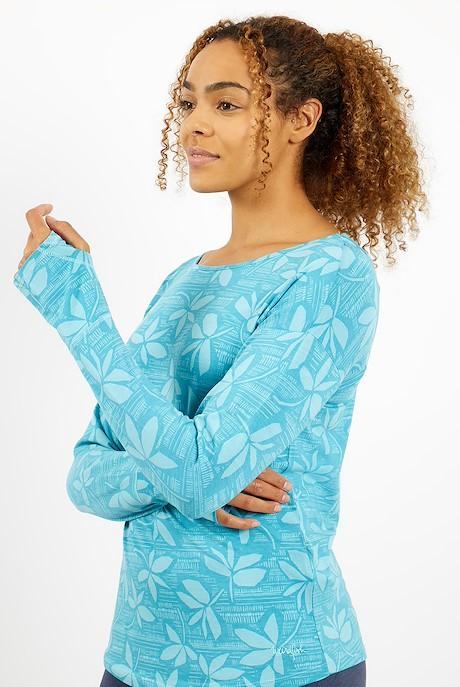 Hestia Bamboo Long Sleeve Printed T-Shirt Provincial Blue