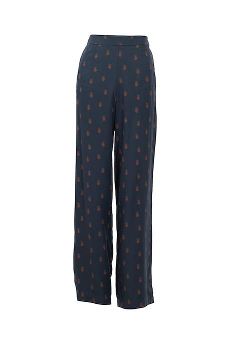 Erso Printed Tencel Trouser Navy