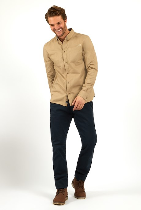 Hetton Button Down Shirt Taupe Grey