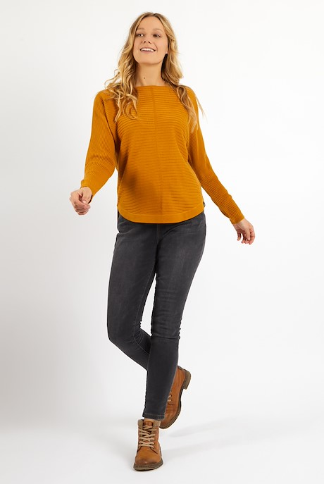 Enya Ribbed Wide Sleeve Jumper Mustard