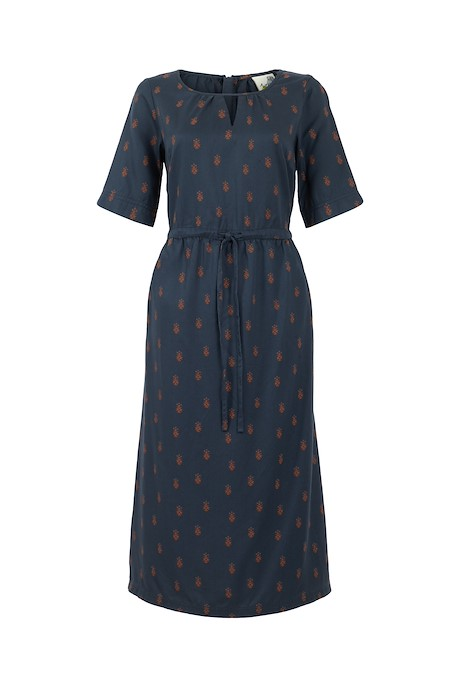 Amelia Printed Tencel Dress Navy