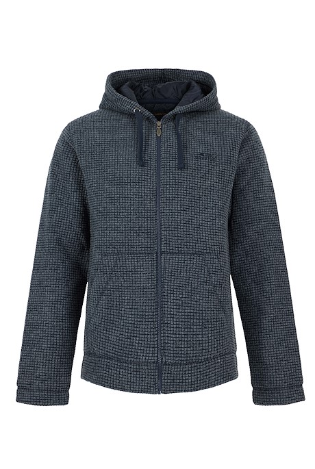 Wilton Full Zip Lined Grid Fleece Hoodie Navy