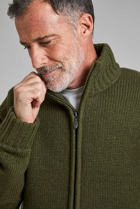 Bunratty Full Zip Lined Jumper Olive Night