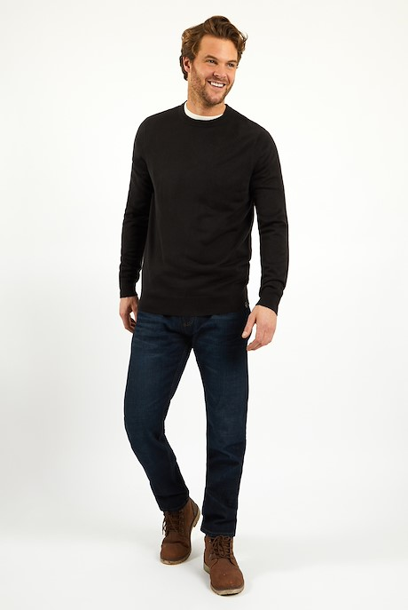 Tullamore Fine Gauge Crew Neck Jumper Charcoal Grey