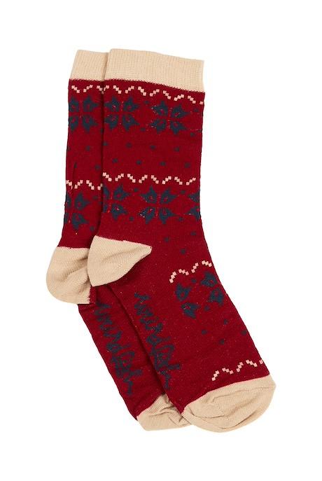 Dooish Fair Isle Socks Rich Red