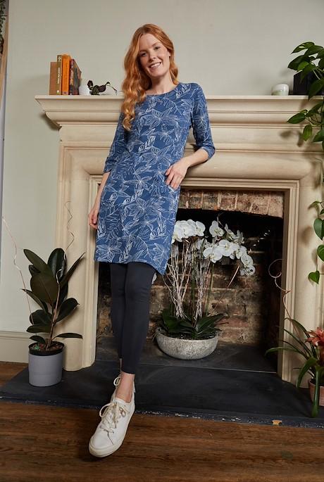 Starshine Organic Cotton Printed Jersey Dress Ensign Blue
