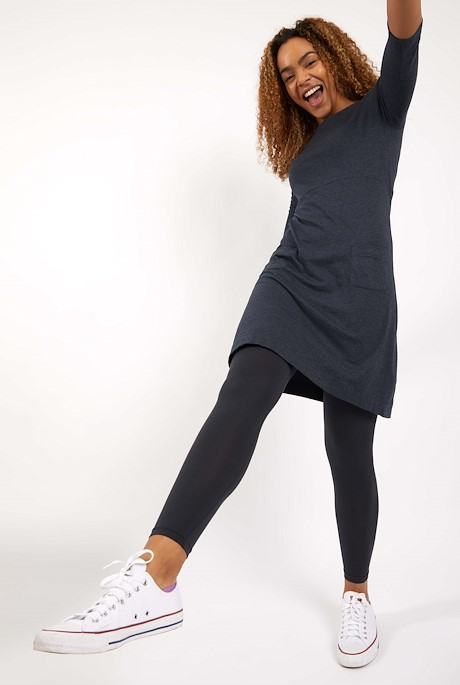 Starburst Organic Cotton Jersey Dress Navy
