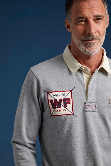 Higton Long Sleeve Rugby Shirt Grey Marl