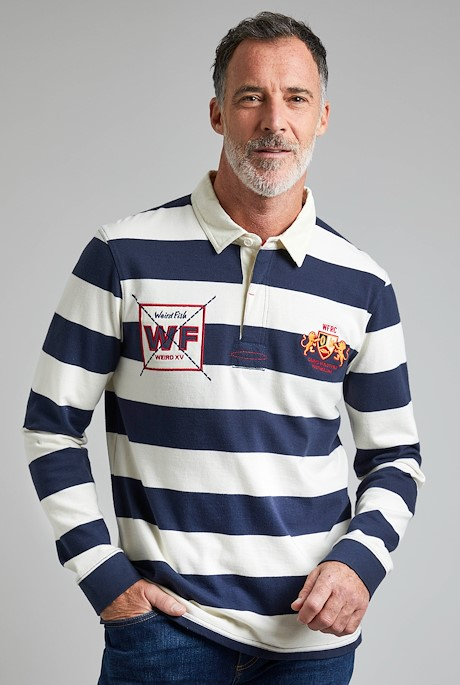 Leigh Organic Cotton Striped Rugby Shirt Navy