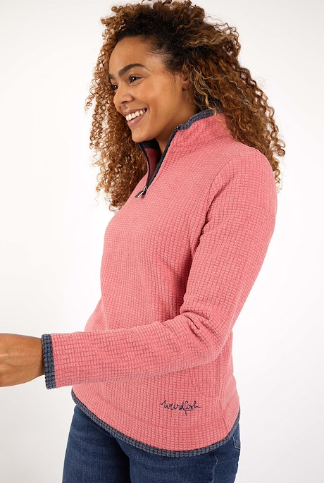Beyonce 1/4 Zip Grid Fleece Tea Rose