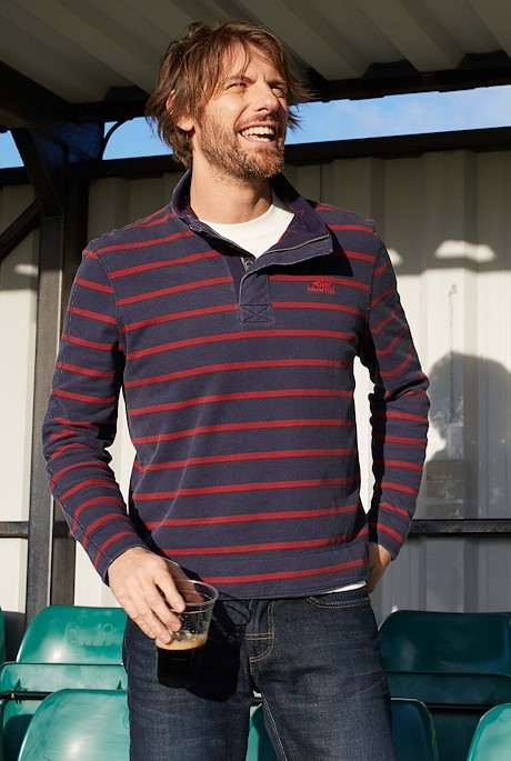 Wrexham 1/4 Zip Stripe Pique Navy
