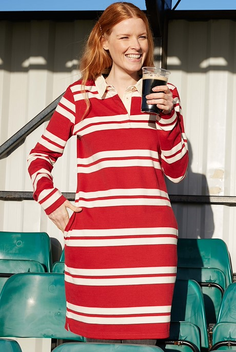 Ava Organic Cotton Stripe Rugby Dress Chilli Red