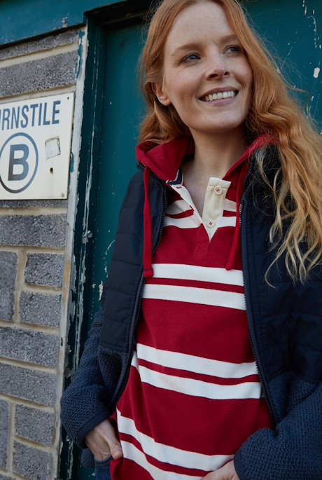 Merida Organic Cotton Stripe Hoodie Chilli Red