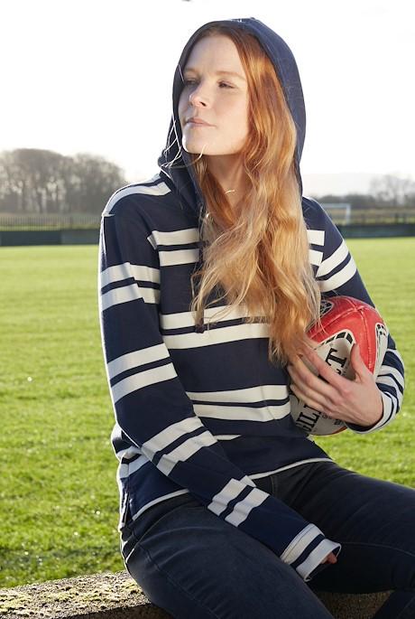 Merida Organic Cotton Stripe Hoodie Navy