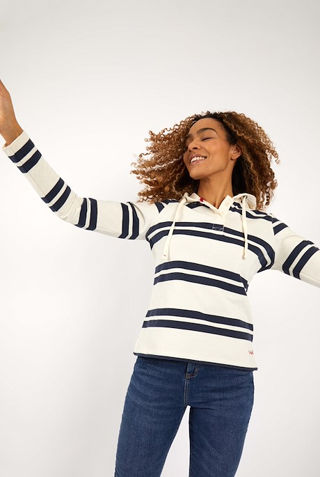 Merida Organic Cotton Bold Stripe Hoodie Light Cream