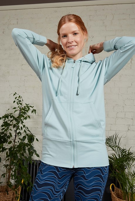 Aphrodite Bamboo Long Line Hoodie Seaspray
