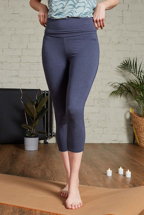 Aleski Bamboo Yoga Leggings Navy Marl