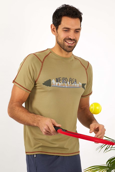 Neo Printed Bamboo T-Shirt Khaki