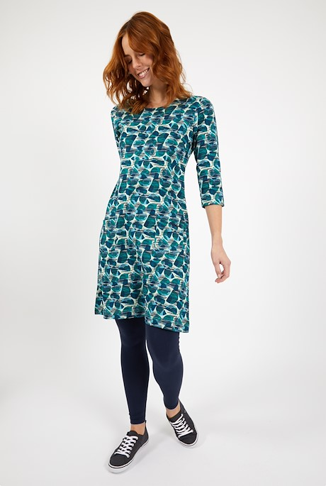 Starshine Organic Cotton Printed Jersey Dress Bottle Green