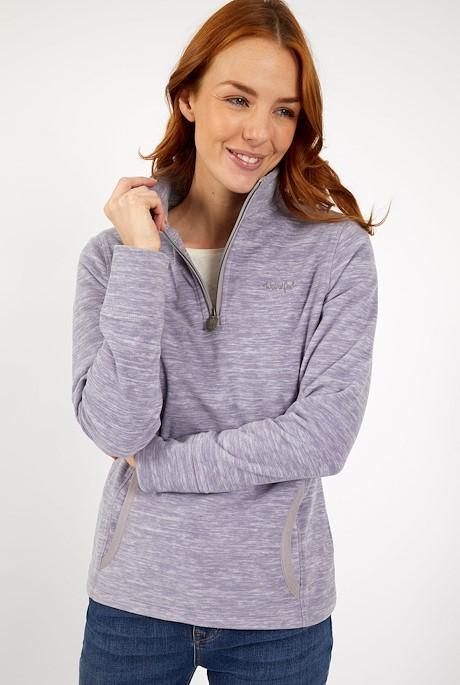 Nancy 1/4 Zip Space Dyed Fleece Lilac Hint