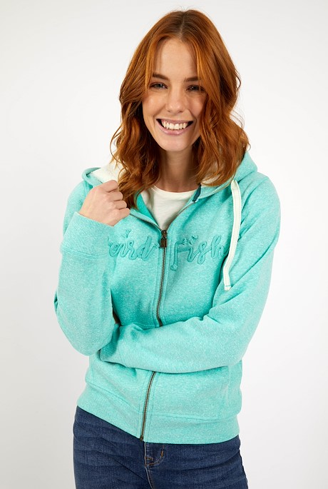 Tani Branded Snow Marl Full Zip Hoodie Light Teal