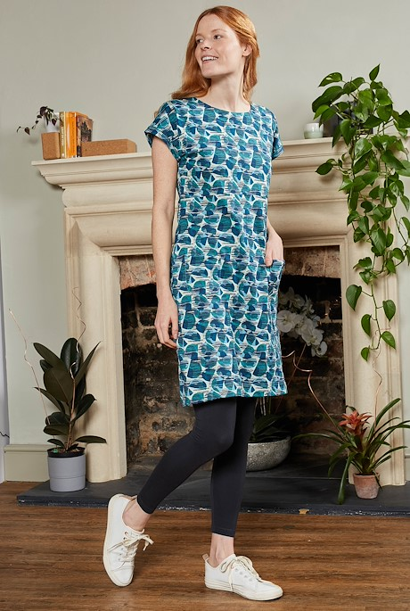 Tallahassee Organic Cotton Printed Jersey Dress Bottle Green