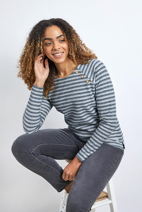 Ajuda Organic Cotton Crew Neck Sweat Navy