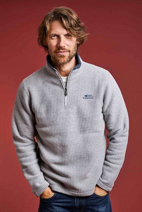 Newark 1/4 Zip Grid Fleece Frost Grey