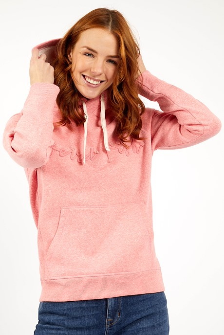 Bodhi Branded Snow Marl Hoodie Tea Rose
