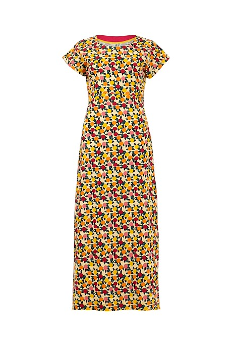 Mirren Organic Cotton Printed Maxi Dress Apricot