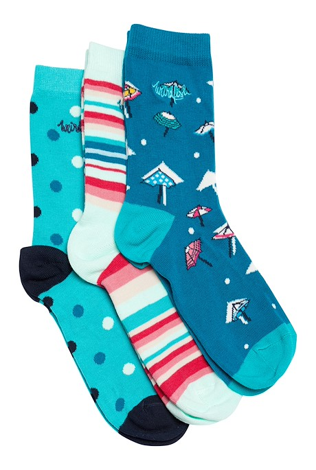 Parade Patterned Socks Triple Pack Light Teal