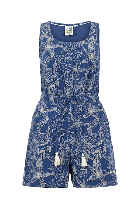 Flik Organic Cheesecloth Printed Playsuit Ensign Blue