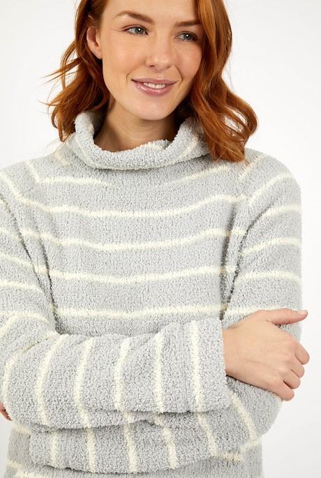Sarno Stripe Feather Fleece Pearl Grey