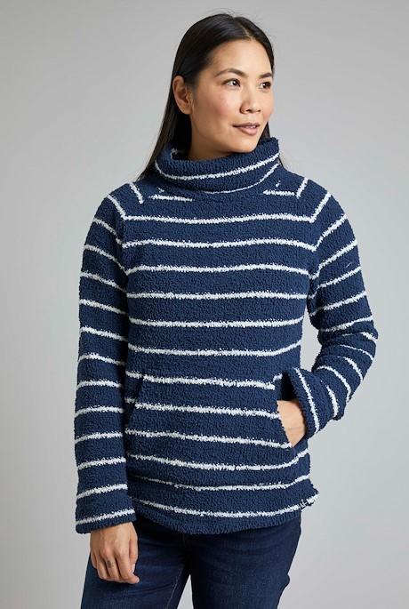 Sarno Stripe Feather Fleece Navy