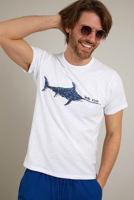 Swordfish Organic Cotton Embroidered T-Shirt White
