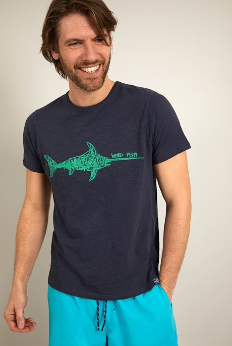 Swordfish Organic Cotton Embroidered T-Shirt Navy