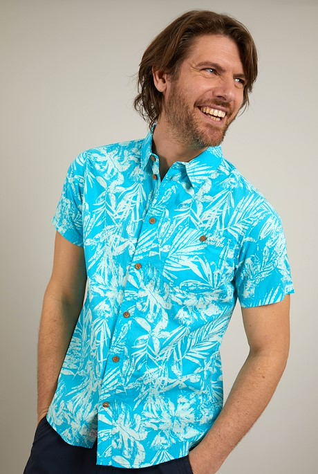Thomkins Organic Cotton Hawaiian Print Shirt Turquoise