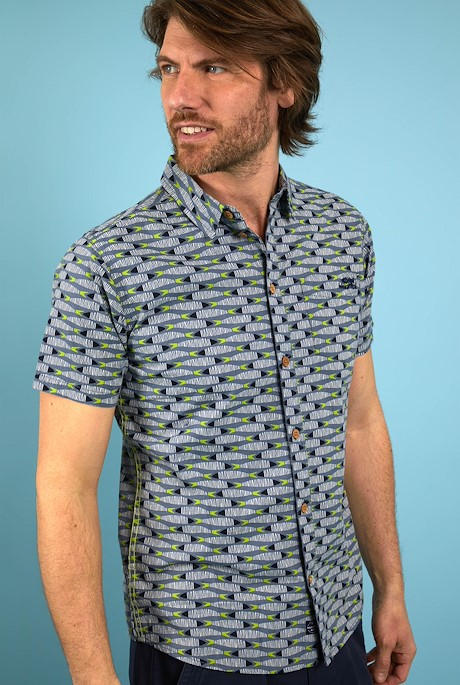 Martinez Organic Cotton Printed Shirt Blue Mirage