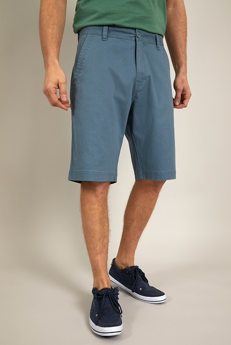 Rayburn Organic Cotton Flat Front Shorts Blue Mirage